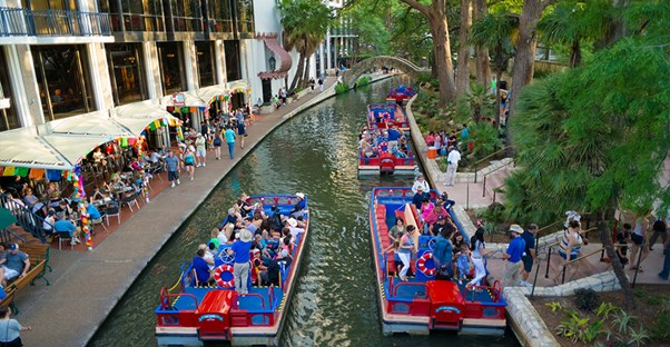 The San Antonio River Walk is the center of downtown activity.