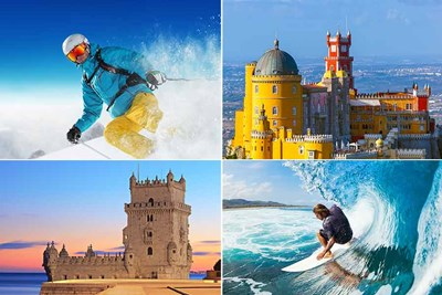 Quad split image. Top left, person skiing. Top right, Paras Palace. Bottom left, tower of Belem. Bottom right, man surfing.