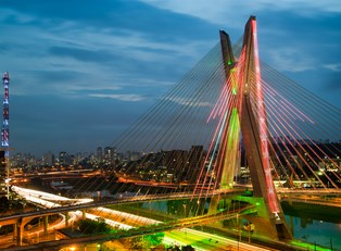 a look towards downton Sao Paulo and Octavio Frias de Oliveira bridge