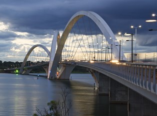 a view of Juscelino Kubitschek Bridge in Brasilia, Brazil
