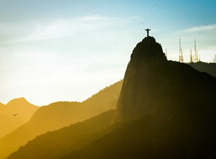 looking up at Christ the Redeemer on the mountains above Rio de Janiero