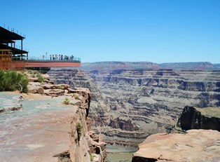the Skywalk at Grand Canyon West juts out over the edge of the Grand Canyon