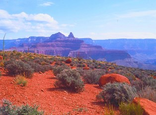 a view of the red dirt edge of the West Rim of the Grand Canyon