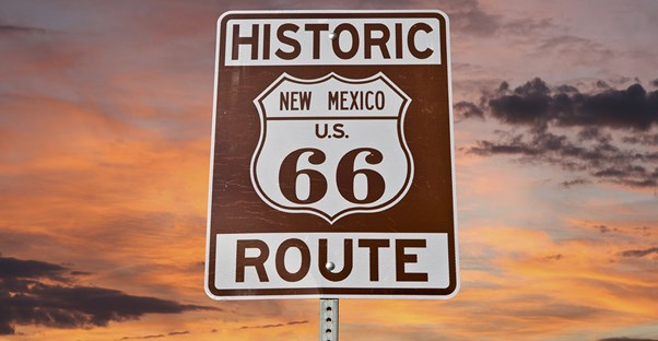 a road sign for historic route 66 in new mexico