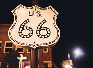 a sign for route 66 in Oklahoma