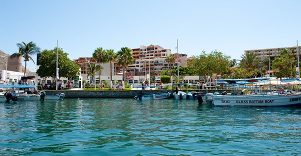 the cabo san lucas harbor bustles with activity