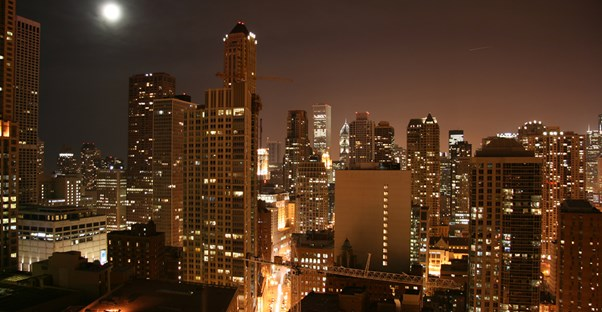 a view of downtown Chicago from the Tremont hotel