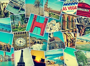 an array of travel pictures shows famous world landmarks