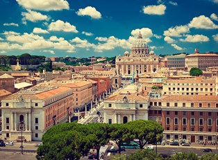 st. peter's sits atop vatican hill in the bright sunshine