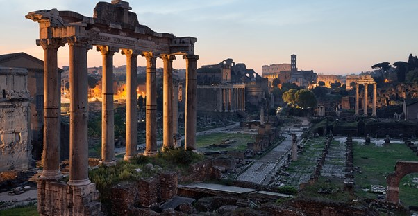 roman ruins catch the sunrise