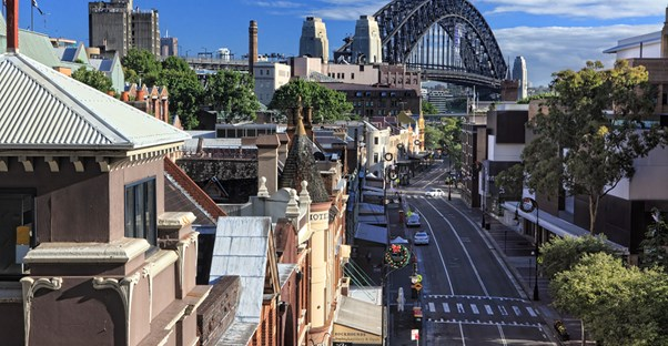 a local sydney street under the sydney harbour bridge