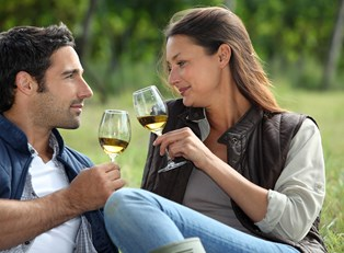 a couple toasts their wine glasses to a successful sonoma vacation