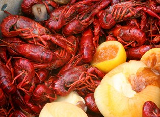 tasty new orleans food and crawfish