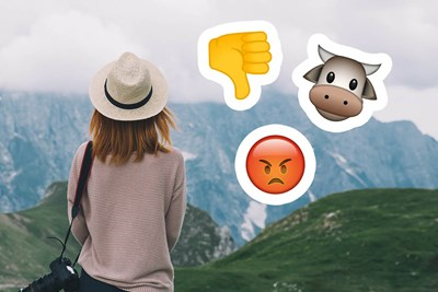 negative comments and emojis on top of an image of a national park