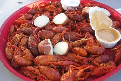 This plate of crayfish is a common sight in Louisiana.