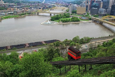 The Duquesne Incline in Pittsburgh climbs a hill overlooking the river.