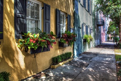 Color houses line the streets of historic Downtown Charleston.