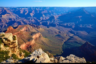 A view from the ledge of the Grand Canyon.