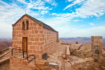 A small church on the top of Mount Sinai in Egypt.