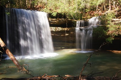 The beautiful Carney Creek Falls waterfall in Alabama.