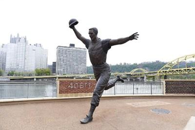 A baseball statue