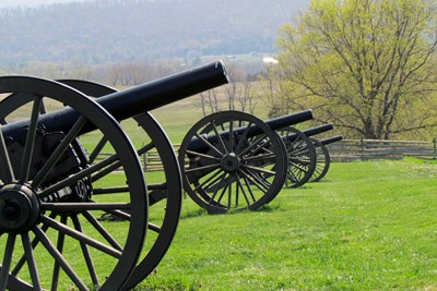 Canons stand on the Civil War battlefield of Antietam in Maryland.