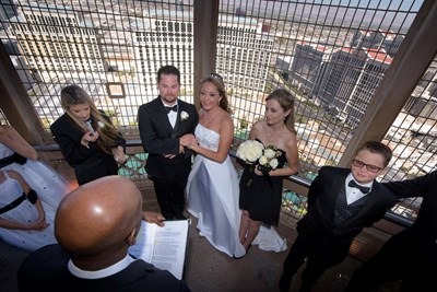 a couple gets married at a las vegas wedding at the paris hotel