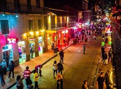 a look down bourbon street in new orleans louisiana