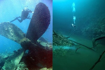A diver with a sunken plane propeller and an undersea river in the Black Sea.