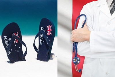 A pair of Australian-themed flip flops on a beach; a doctor holding a stethoscope against a French flag backdrop