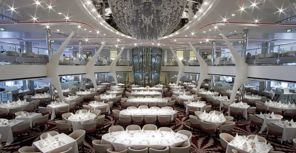 The shiny interior of a large cruise ship.