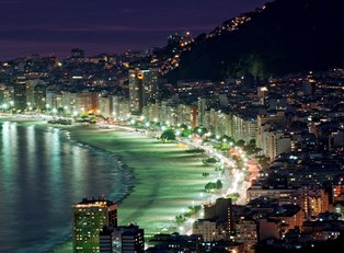 a view of the Brazilian beaches at night