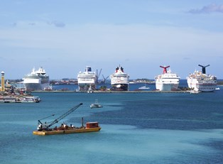 a Caribbean port filled with docked cruise ships