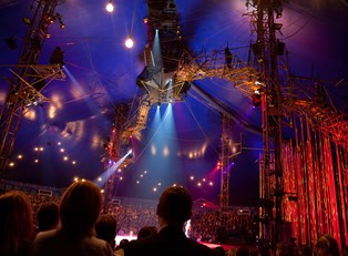 a cirque du soleil show is ready before a performance