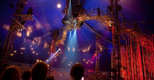 a cirque du soleil show is ready before a performance