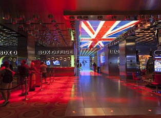 a bright well-lit box office to one of las vegas's shows