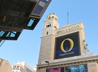 an advertisement for O on the Bellagio marquee