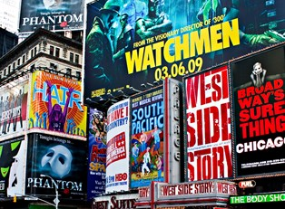 a plethora of ads display titles of broadway shows