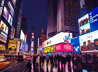 times square where Broadway intersects 46th and 47th streets