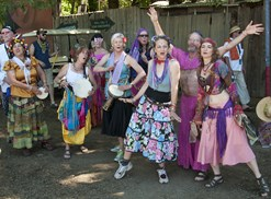 Hippies celebrate at an arts festival in Eugene, Oregon.