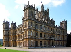 Highclere Castle is the exterior location for the tv show Donwton Abbey.