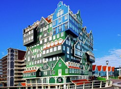 The Inntel Hotel in Amsterdam seems to be made of little houses stacked on top of one another.