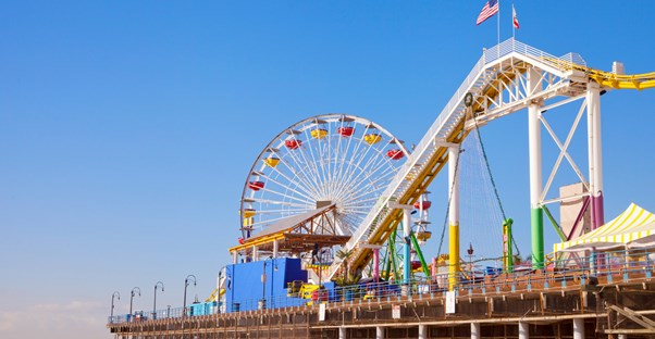 a ferris wheel and roller coaster on the santa monica pier