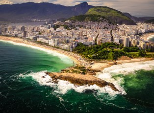 a beach and favela overview in Rio de Janiero