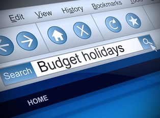 an image of a search bar and the term budget holidays