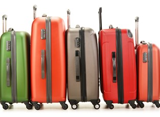 a row of suitcases is lined up