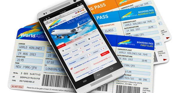 a boarding pass appears within a travel app on a smartphone