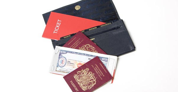 a travel wallet is filled with passport, id, and other important documents